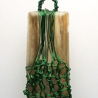 Green Wire Netted Glass Tile Art Pendant by VenganzyJewelry