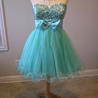 NWT Speechless tube pageant prom social occasion cocktail party dress Aqua 9