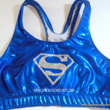 Super Steel Silver Super Hero Metallic Sports Bra Cheerleading