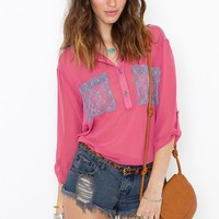 Lace Pocket Blouse - Berry in  Clothes at Nasty Gal
