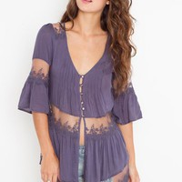 Ashbury Lace Top - Slate Blue in  Clothes at Nasty Gal