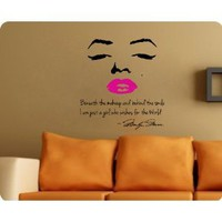 Marilyn Monroe Face Wall Decal Decor Face PINK Lips Large Nice Sticker