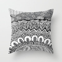 Black and White Doodle Throw Pillow by Kayla Gordon | Society6