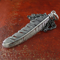 Feather Necklace Native American Feather Pendant in by LostApostle