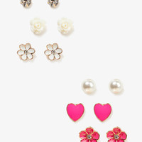 Flowers &amp; Hearts Stud Set