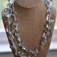 Large Clear and Faceted Aqua / Turquoise and Crystal by jMilagro