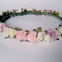 pastel flower headband // floral // pink // cream