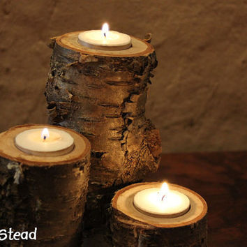 Log Candles Rustic Wedding / Cabin Decor Table by HomenStead