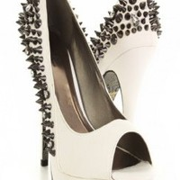 White Snake Skin Texture Faux Leather Pyramid Studded Peep Toe Heels @ Amiclubwear