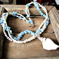 Aquamarine Necklace with White Shell