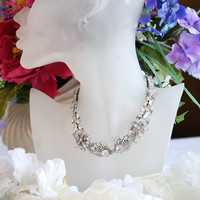 Wedding Necklace Vintage Necklace Rhinestone Necklace by KDBridal