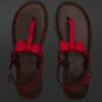 Abercrombie &amp; Fitch RED flip flops Sandals small 7 8 Red Bow
