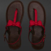 Abercrombie & Fitch RED flip flops Sandals small 7 8 Red Bow