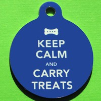 $10.00 Keep Calm and Carry Treats  Custom Metal Pet ID Tag by BowWowzerZ