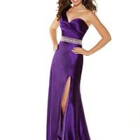 Purple Satin Gathered Beaded One Shoulder Empire Waist Long Dress - Unique Vintage - Cocktail, Pinup, Holiday & Prom Dresses.