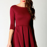 Tracie 3/4 Sleeve Ribbed Skater Dress