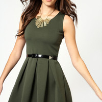 Julia Box Pleat Sleeveless Skater Dress