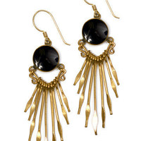 GYPSY WARRIOR - Onyx Sun Brass Earrings