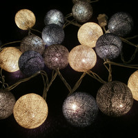 Gray Cotton Set  Hanging stringlights for party and home decoration indoor and outdoor (20 balls/pack)