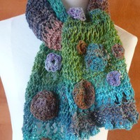Multicolor One of a kind  hand knitted scarf in  cedar green, turquoise, purple, brown, pink and more with flowers and ruffle.