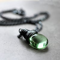 Wire Wrapped Pendant Necklace, Mint Green Glass Teardrop Oxidized Sterling Silver Necklace - Leaf
