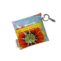 Floral Zipper Pouch, Oil Cloth, Wallet, Coin Purse, Kaffe Fasset