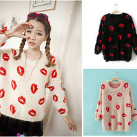 Women Casual Loose Lips Prints 3/4 Sleeve Pullover Sweater Top Off-white Black