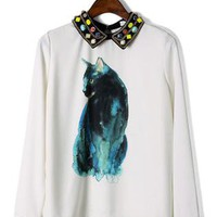 Cat Print Candy Beads Collar Top S010016
