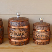 Canisters Ceramic Treasure Craft wooden barrel by JudysJunktion