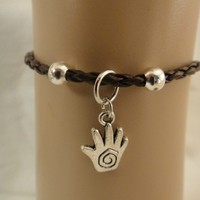 KABBALAH HAND OF HAMMSA BRAIDED GENUINE LEATHER BRACELET.