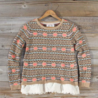 Isle & Lace Sweater in Sand, Sweet Bohemian Clothing