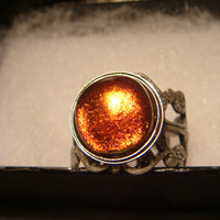 Antique Silver Ox Dichroic Glass Galaxy Ring  - Adjustable (913)