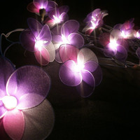 Violet Mixed Set Hanging Nylon stringlights for party and home decoration indoor and outdoor (20 Flowers/pack)