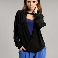 Black Personalized Pocket Long Sleeve Shirt S010027
