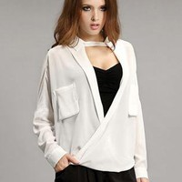 White Personalized Pocket Long Sleeve Shirt S010026