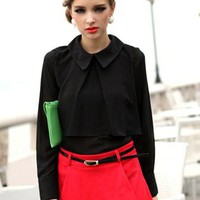 Black Vintage Lapel Flounced Chiffon Shirt S010020