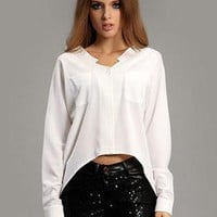 White Irregular Bat Sleeve Hem Shirt S010022