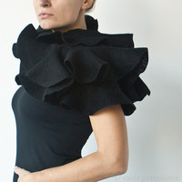 Nuno Felted Ruffle Shawl / Silk and Wool Scarf Black by vart