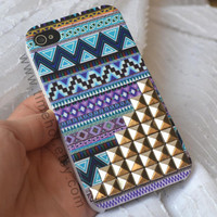 Aztec Tribal Silver Pyramid Studded iphone 4 caseiphone by timehot