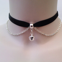 Mini Silver Plated JINGLE BELL With Chain BLACK by TwirlyTrinkets