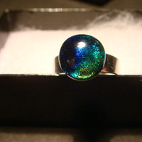 Silver  Blue / Green Dichroic Glass Galaxy Ring  - Adjustable (918)