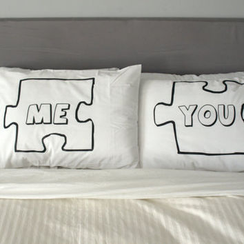 Puzzle Piece Pillow Case For Weddings Couples Love by uVinyl