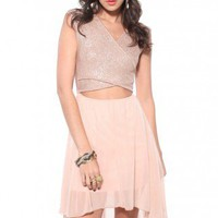 Wrap Bust Cutout Dress