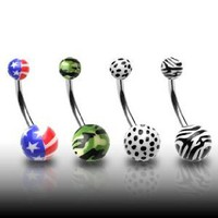 "316L Surgical Stainless Steel Belly Rings with Printed Balls - American Flag - 14G - 7/16"" Bar Length - Sold Individually: Jewelry: Amazon.com"
