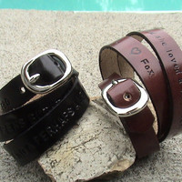 Personalized His n Hers Triple Wrap Leather by leathermadenice