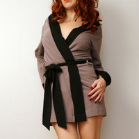 Organic Cotton Robe with custom contrasting by sandmaidensleepwear
