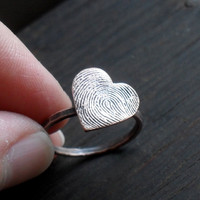Custom Fingerprint Heart Ring in Rustic Copper by janewearjewelry