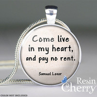 Samuel Lover love quote necklace pendant,love pendant charm,quote resin pendant- Q0189CP