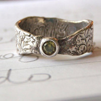 olive diamond and recycled silver engagement by peacesofindigo