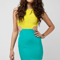 Naven Cut-Out Dress in Chartruese and Turquoise :: tobi